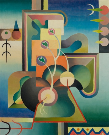 "Jock Macdonald, ""Spring Awakening"", ca. 1936,  oil on canvas, 76.2 x 60.9 cm, private collection, photo Winnipeg Art Gallery"