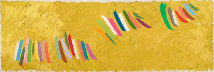 "Jack Bush, ""Chopsticks"", 1977, acrylic on canvas, 140.3 × 415.9 cm (55.25 × 163.75 in.), Private collection, © Estate of Jack Bush / SODRAC (2014), Photo: Michael Cullen, TPG Digital Art Services"
