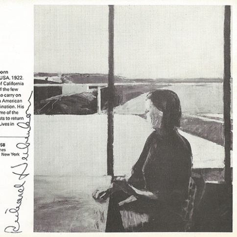 "Richard Diebenkorn, Woman in Profile, 1958, Oil on canvas, 68"" X 59"". Image, with artist's signature, from Dunn International catalogue, 1963."