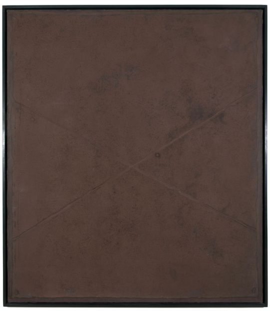 Antoni Tàpies, 'Cross on Brown', 1960, mixed media on canvas, 76 1/2 x 67 inches.