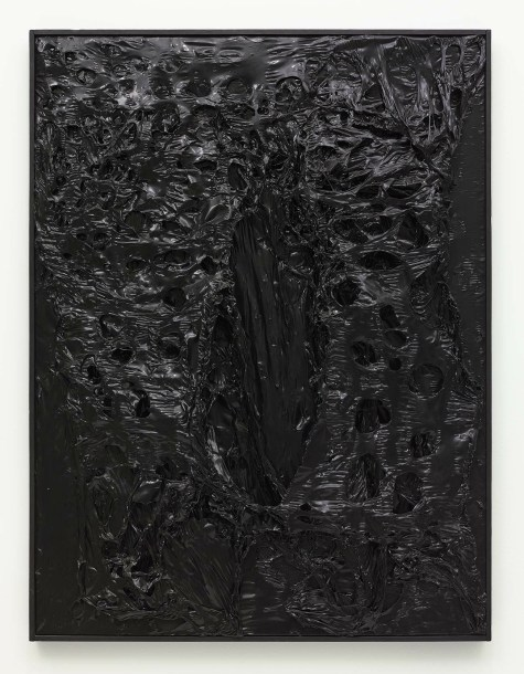 ALBERTO BURRI (1915-1995) Alberto Burri, 'Nero Plastica', 1965, burned plastic on canvas 41 x 31 inches