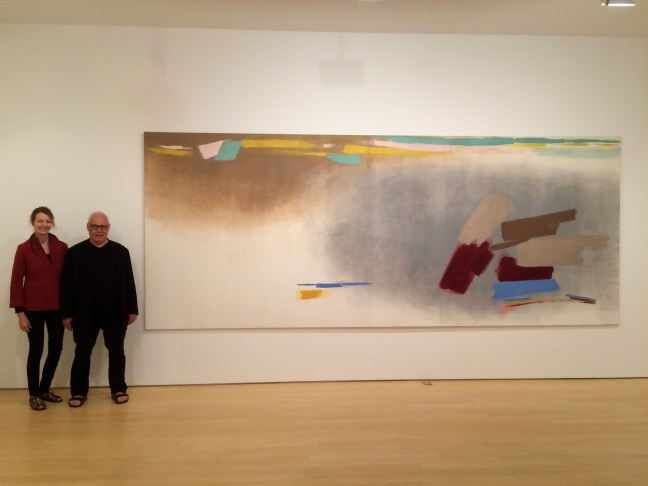 "Fred Dzubas,' Nebel', magna on canvas, 1971, 78.5 x 195"" The two painters standing next to it are Ben Woolfitt and Sandy Van Iderstine. Photo Ken Carpenter."