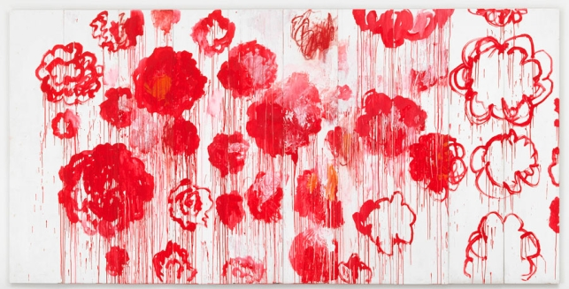 Cy Twombly, 'Blooming', 2001-2008, acrylic, wax crayon on ten wooden panels 98 3/8 x 196 7/8 inches, © Cy Twombly Foundation. Private Collection. Photography by Mike Bruce. Courtesy Gagosian Gallery.