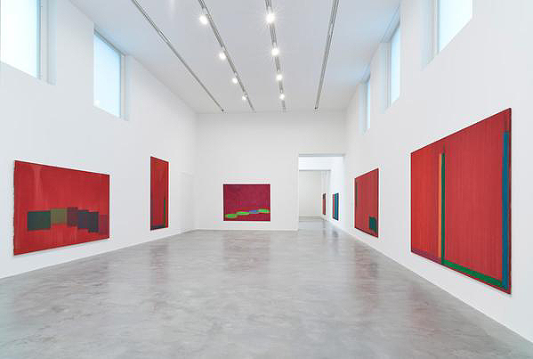 Installation of John Hoyland paintings, Gallery 1, Newport Street Gallery
