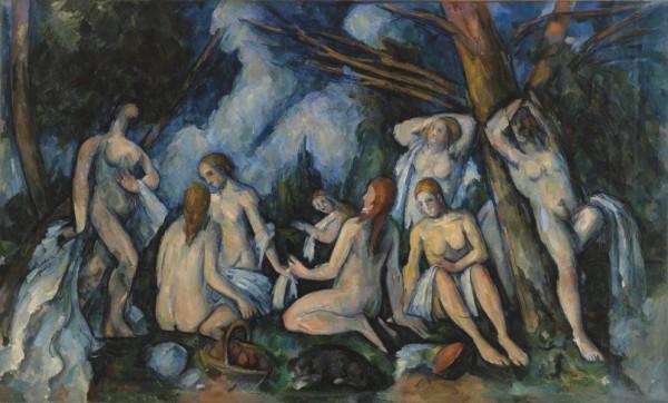 """The Large Bathers (Les Paul Cézanne, """"Grandes Baigneuses"""", 1900-05, Barnes Foundation."""
