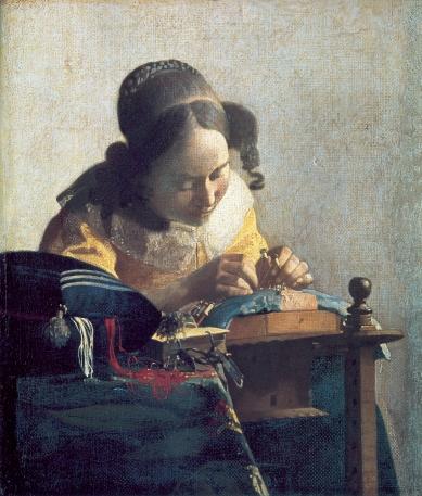 """Johannes Vermeer, """"The Lacemaker"""" c.1669-1671"""