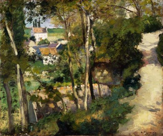 "Camille Pissarro, ""The Climbing Path, L'Hermitage, Pontoise"", 1875."