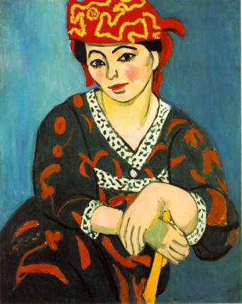 "Henri Matisse, ""Madame Matisse in Rouge Madras"", 1907, Barnes Foundation."