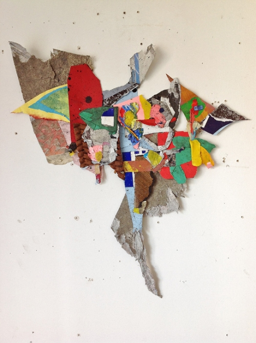 "John Bunker, ""Geist"" 2015. 55cmX50cm, mixed media shaped collage."