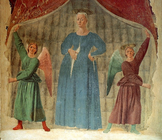 Piero della Francesca, 'Madonna del Parto' (after 1457), detached fresco, Museo della Madonna del Parto, Monterchi, Tuscany.