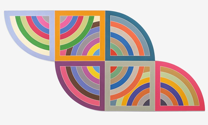 "Frank Stella, ""Harran II"", 1967, Polymer and fluorescent polymer paint on canvas. 120 x 240 in. (304.8 x 609.6 cm). Solomon R. Guggenheim Museum, New York; gift, Mr. Irving Blum, 1982. (c) 2015 Frank Stella/Artists Rights Society (ARS), New York."