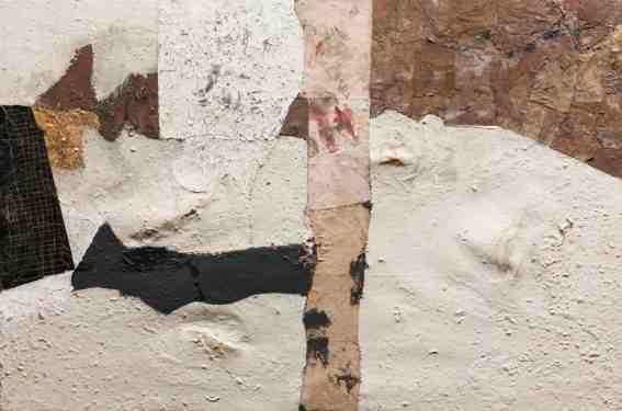 "Alberto Burri, ""Bianco"", 1952, oil, paint, metal paint, fabric, PVA, tar, paper, thread and gold leaf on black cloth, 56.5 x 84.8 cm The Art Institute of Chicago, Gift of Dr. And Mrs. Harry O. Maryan 1955 © Fondazione Palazzo Albizzini Collezione Burri, Città di Castello / VG Bild-Kunst, Bonn 2016 Photo: © Kunstsammlung NRW"