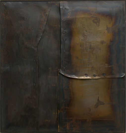 """Alberto Burri, """"Grande ferro M 4 (Large iron M 4)"""", 1959, welded iron plate on wood frame, 199.8 x 189.9 cm, Solomon R. Guggenheim Museum, New York 60.1572, © Fondazione Palazzo Albizzini Collezione Burri, Città di Castello / VG Bild-Kunst, Bonn 2016 / SIAE, Rome Photo: Photo: Kristopher McKay © Solomon R. Guggenheim Foundation, New York © Kunstsammlung NRW"""