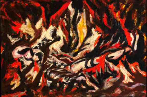"Jackson Pollock, ""The Flame"", c. 1934-38 Oil on canvas mounted on fiberboard 20 1/2 x 30"" (51.1 x 76.2 cm) Enid A. Haupt Fund, MOMA"