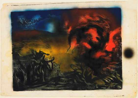 "Jackson Pollock, ""Landscape with Steer"", c. 1936-37 Lithograph with airbrushed lacquer additions Publisher: unpublished Printer: unknown composition: 13 13/16 x 18 9/16"" (35.1 x 47.1 cm); sheet: 16 1/8 x 23 3/8"" (41 x 59.3 cm) Edition: approx. 2-3 (one with airbrushed enamel additions [this ex.]). Gift of Lee Krasner Pollock"