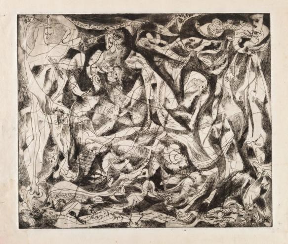 "Jackson Pollock, Untitled (4), state II of III c.1944-45 Engraving and drypoint plate: 14 15/16 x 17 5/8"" (38 x 44.8 cm); sheet: 18 3/4 x 24 13/16"" (47.7 x 63 cm) Edition: unique trial proof of state II before the 1967 posthumous edition of 50 . Publisher: unpublished Printer: the artist at Atelier 17, New York Workshop Printer: Stanley William Hayter, British, 1901-1988 Gift of Lee Krasner Pollock, MOMA"