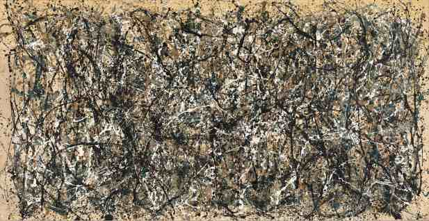 "Jackson Pollock, ""One: Number 31, 1950"", Oil and enamel paint on canvas 8' 10"" x 17' 5 5/8"" (269.5 x 530.8 cm) Sidney and Harriet Janis Collection Fund (by exchange), MOMA"