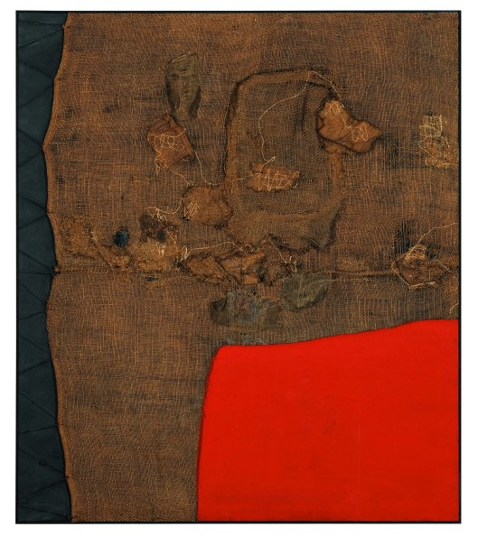 "Alberto Burri, ""Sacco e rosso (Sack and Red)"", ca. 1959 Burlap, thread, acrylic, and PVA on black fabric, 150 x 130 cm Private collection, London © Fondazione Palazzo Albizzini Collezione Burri, Città di Castello/2015 Artist Rights Society (ARS), New York/SIAE, Rome Photo: Lucy Dawkins, London"