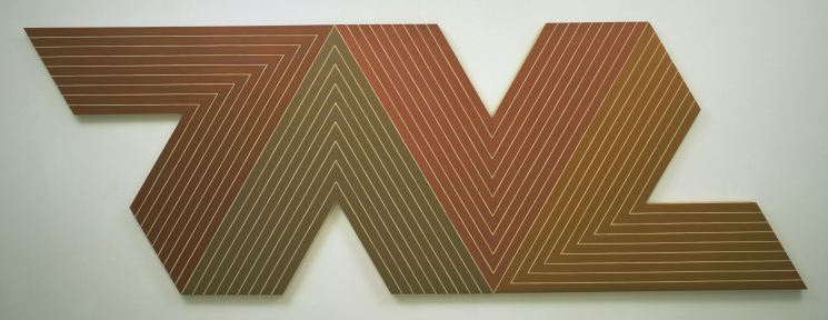 "Frank Stella, ""Empress of India"", 1965, Metallic powder in polymer emulsion on canvas. 77 x 224 in. (195.6 x 569 cm). The Museum of Modern Art, New York; gift of S. I. Newhouse, Jr. © 2015 Frank Stella/Artists Rights Society (ARS), New York. Digital Image © The Museum of Modern Art/Licensed by SCALA / Art Resource, NY."