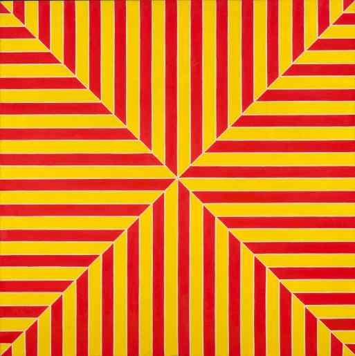 "Frank Stella, ""Marrakech"", 1964. Fluorescent alkyd on canvas. 77 x 77 x 2 7/8 in. (195.6 x 195.6 x 7.6 cm). The Metropolitan Museum of Art, New York; gift of Mr. and Mrs. Robert C. Scull, 1971 (1971.5). (c) 2015 Frank Stella/Artists Rights Society (ARS), New York."