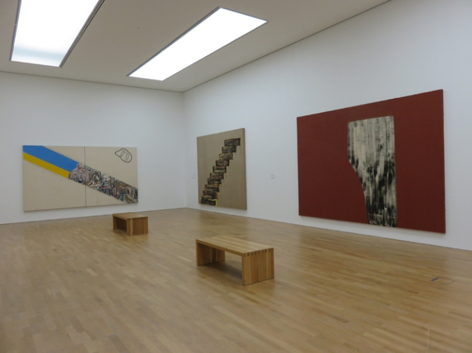 "Basil Beattie installation at MIMA, L to R:""Without End"", 2005; ""Never Before"", 2001; ""Hinterland"", 1995"