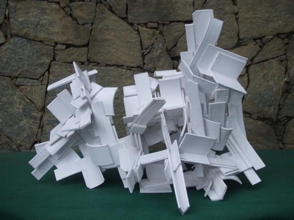 "Tim Scott, ""Bridge of Echoes IV"", 2014, laminated paper (for plywood)"