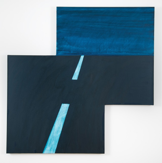 """Maricopa Highway"", 2014, oil on canvas, 106.6x106.6x3.1cm, ©Mary Heilmann; Photo credit: Marie Catalano, Courtesy of the artist, 303 Gallery, New York, and Hauser & Wirth"