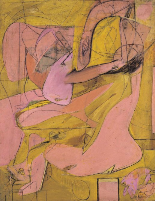 "Willem de Kooning, ""Pink Angels"", 1945, oil and charcoal on canvas, 132.1x101.6cm. Frederick R. Weisman Art Foundation, Los Angeles. © 2016 The Willem de Kooning Foundation / Artists Rights Society (ARS), New York and DACS, London."