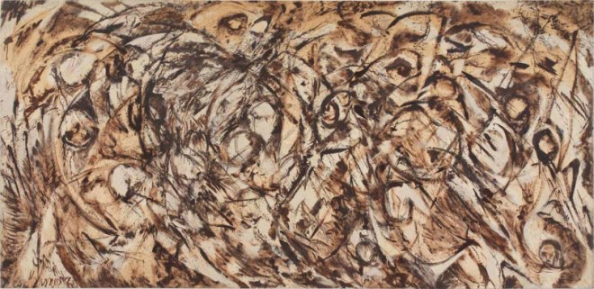 "Lee Krasner, ""The Eye is the First Circle"", 1960, oil on canvas, 235.6x487.4cm. Courtesy Robert Miller Gallery, New York. © ARS, NY and DACS, London 2016 Photo Private collection, courtesy Robert Miller Gallery, New York."
