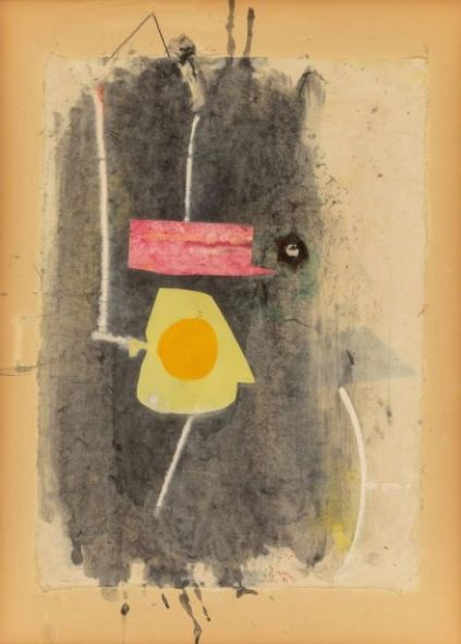 Pierrot's Hat, 1943, watercolour, gouache, pasted papers, pasted glass button and ink on paperboard, 50.2 x 35.9cm
