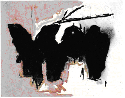 Robert Motherwell, Elegy for the Spanish Republic, No 163, 1979-82, acrylic and conte crayon on canvas, 59.1 x 74.3cms.